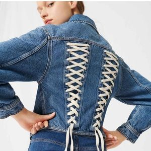 Brand new with tag Maje lace up denim jacket